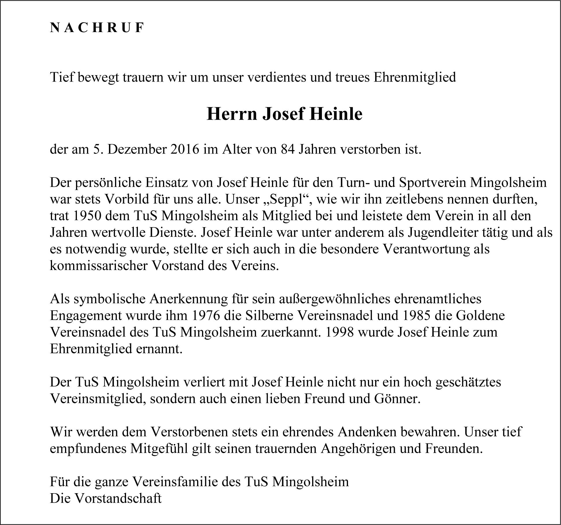 In memoriam Josef Heinle